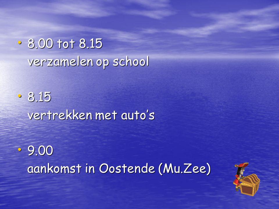 8.00 tot 8.15 verzamelen op school 8.15 vertrekken met auto's 9.00 aankomst in Oostende (Mu.Zee)