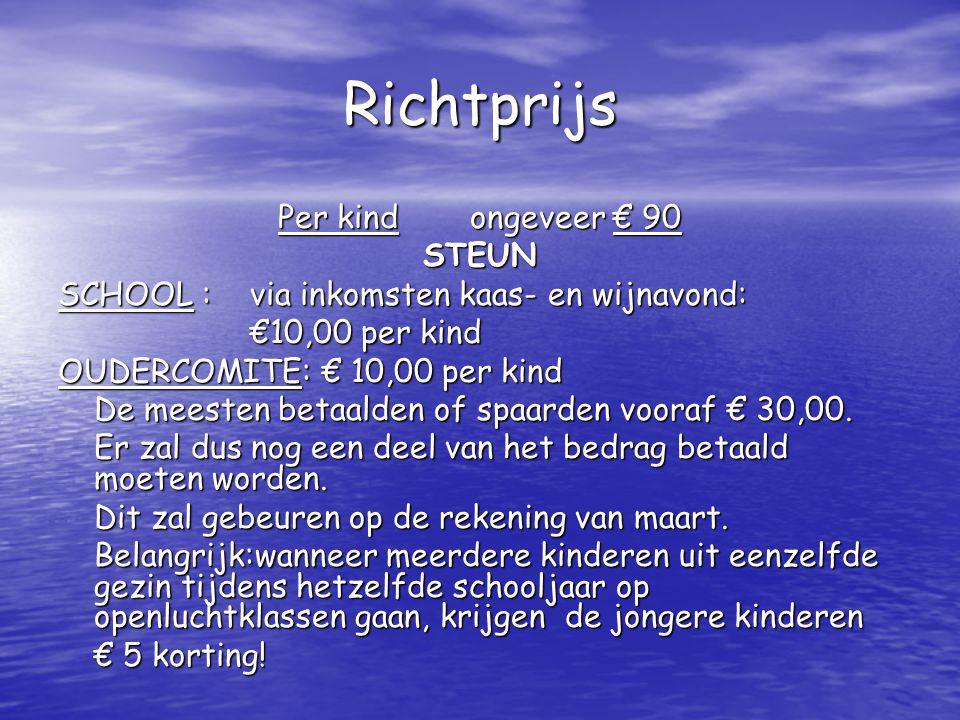Richtprijs Per kind ongeveer € 90 STEUN