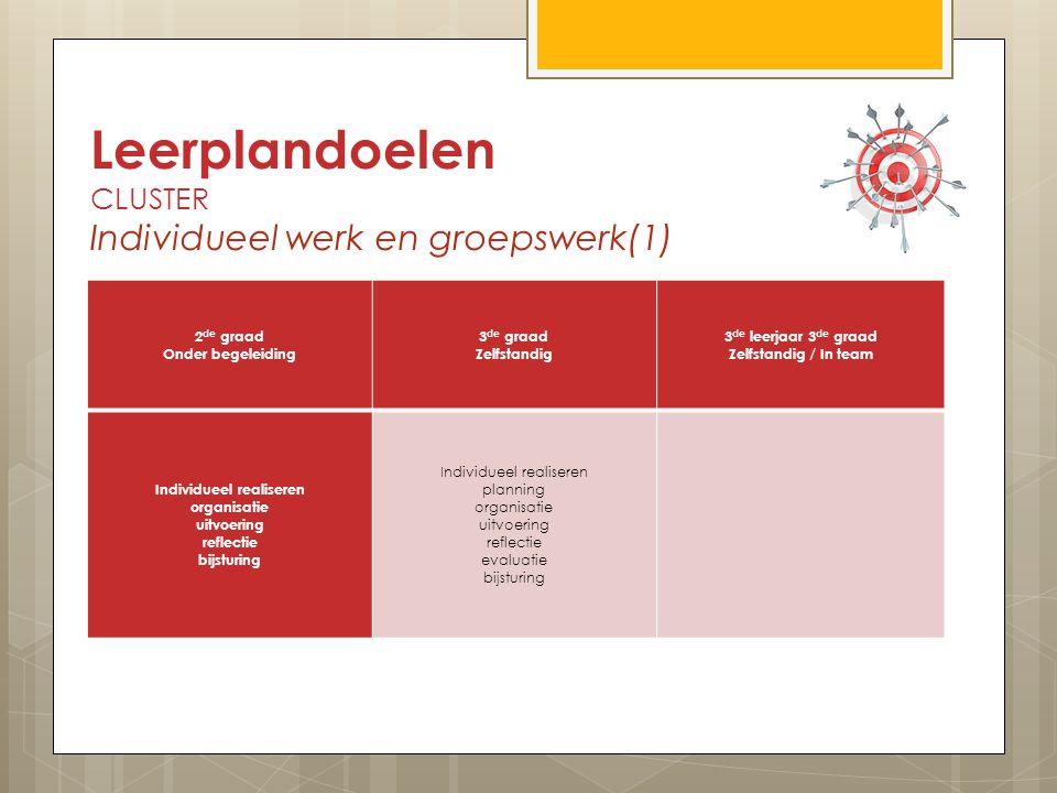 Leerplandoelen CLUSTER Individueel werk en groepswerk(1)