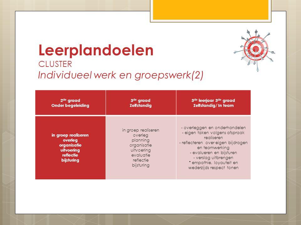 Leerplandoelen CLUSTER Individueel werk en groepswerk(2)