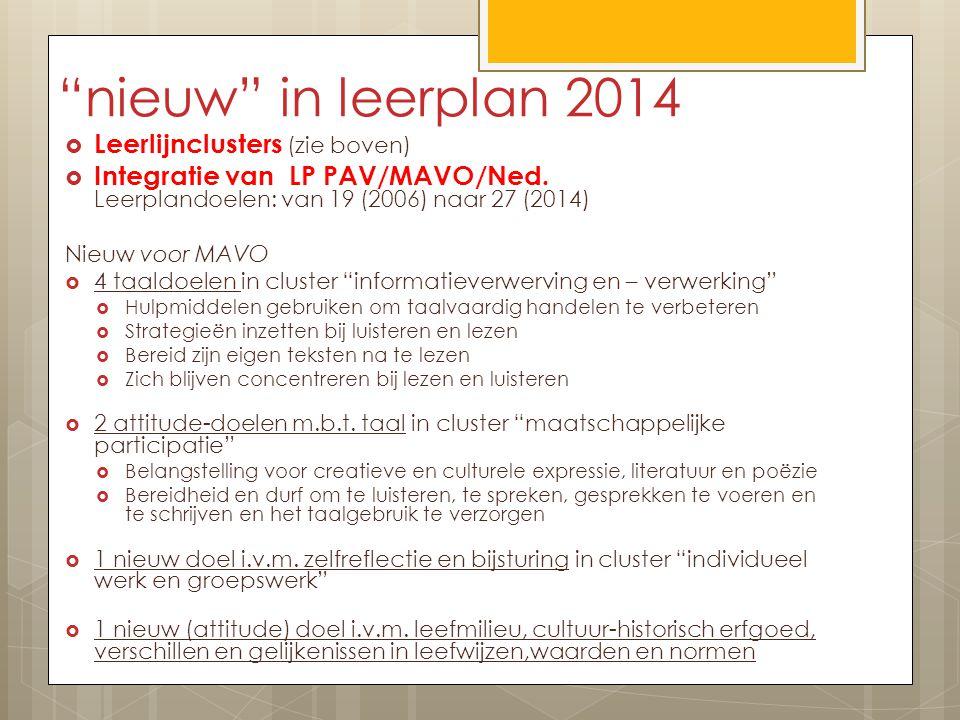 nieuw in leerplan 2014 Leerlijnclusters (zie boven)