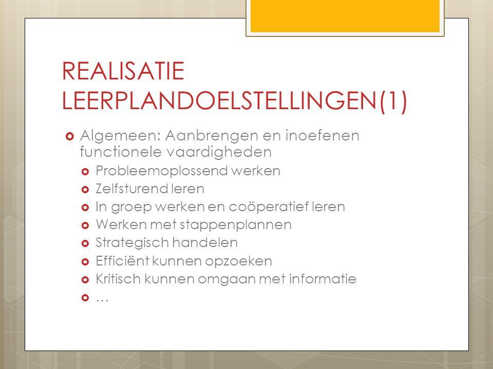 REALISATIE LEERPLANDOELSTELLINGEN(1)