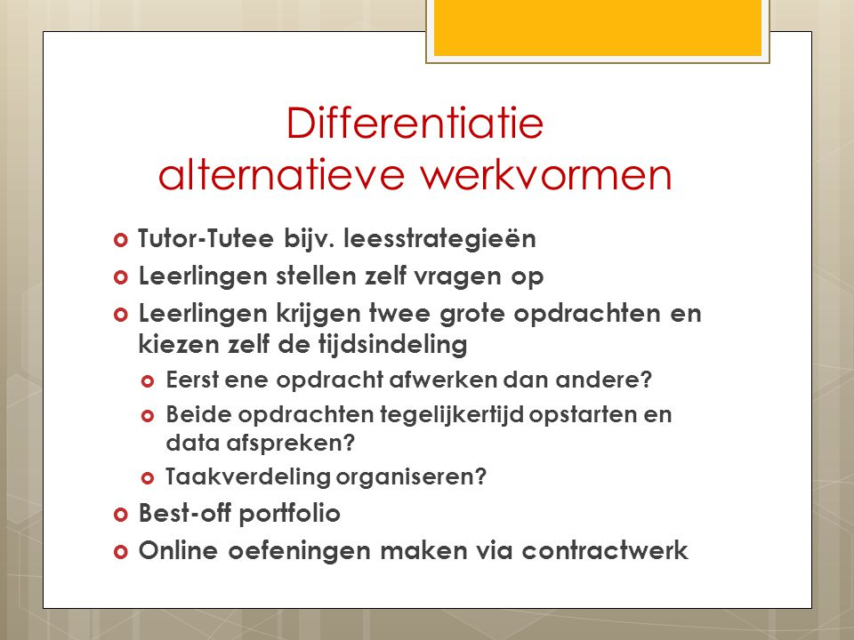 Differentiatie alternatieve werkvormen