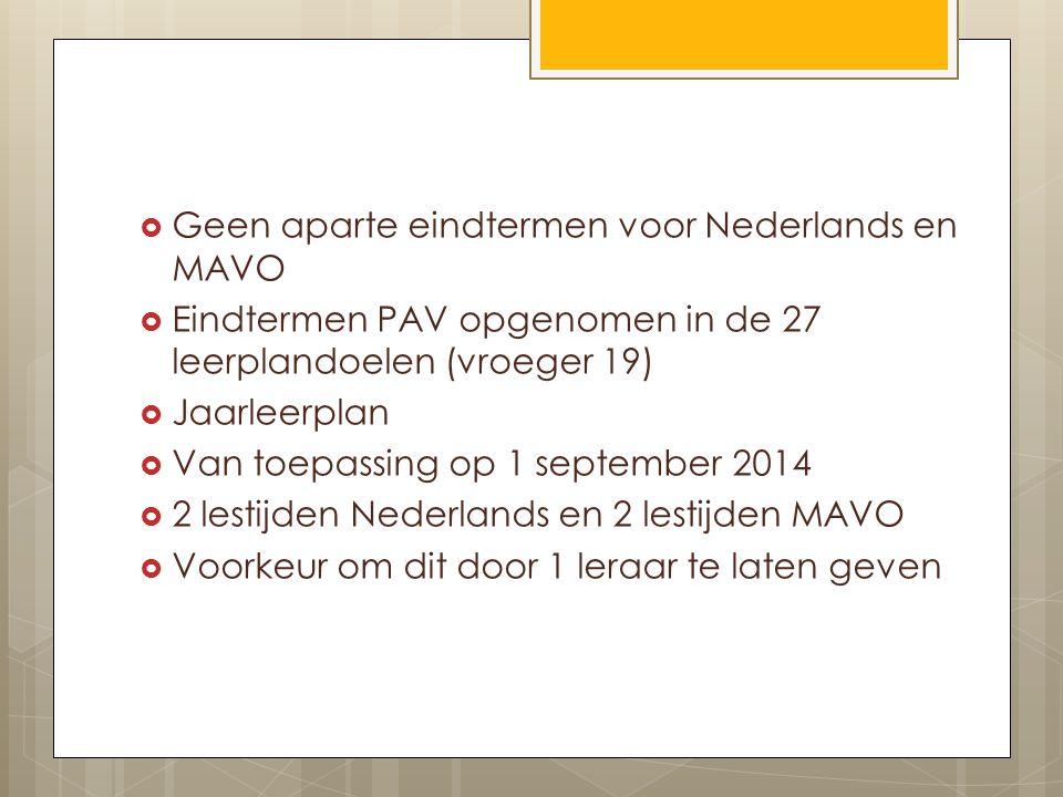 Geen aparte eindtermen voor Nederlands en MAVO