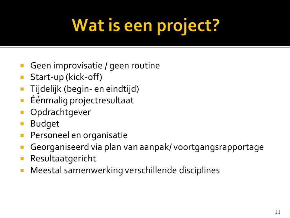 Wat is een project Geen improvisatie / geen routine