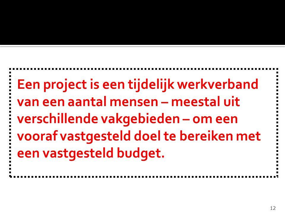 Een project is een tijdelijk werkverband van een aantal mensen – meestal uit verschillende vakgebieden – om een vooraf vastgesteld doel te bereiken met een vastgesteld budget.