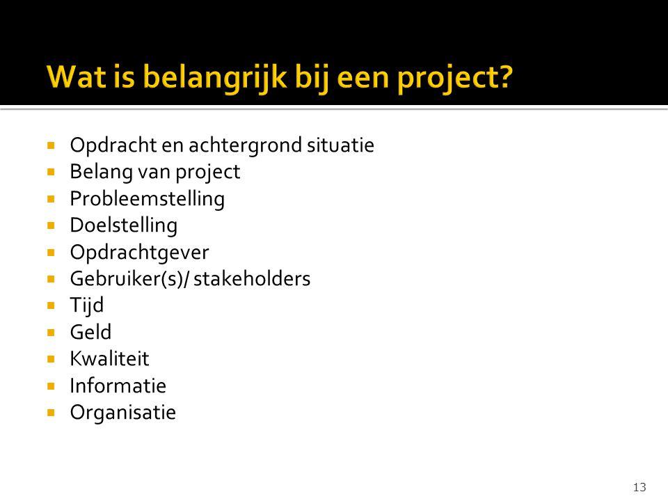 Wat is belangrijk bij een project