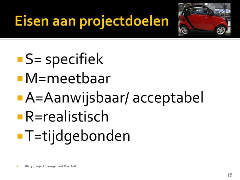 Eisen aan projectdoelen