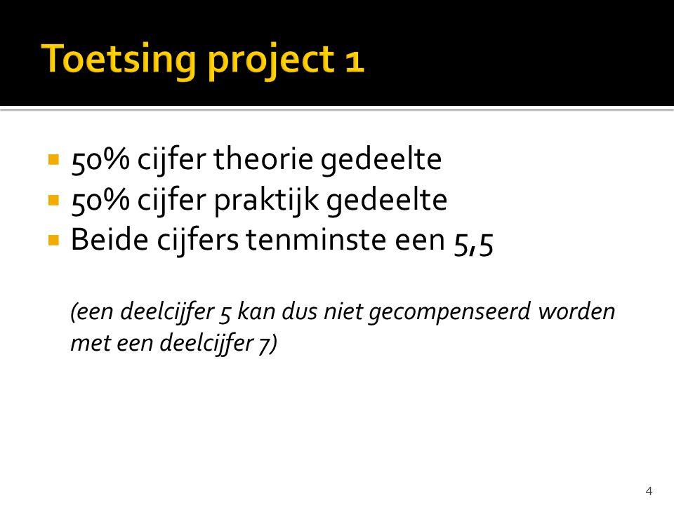 Toetsing project 1 50% cijfer theorie gedeelte