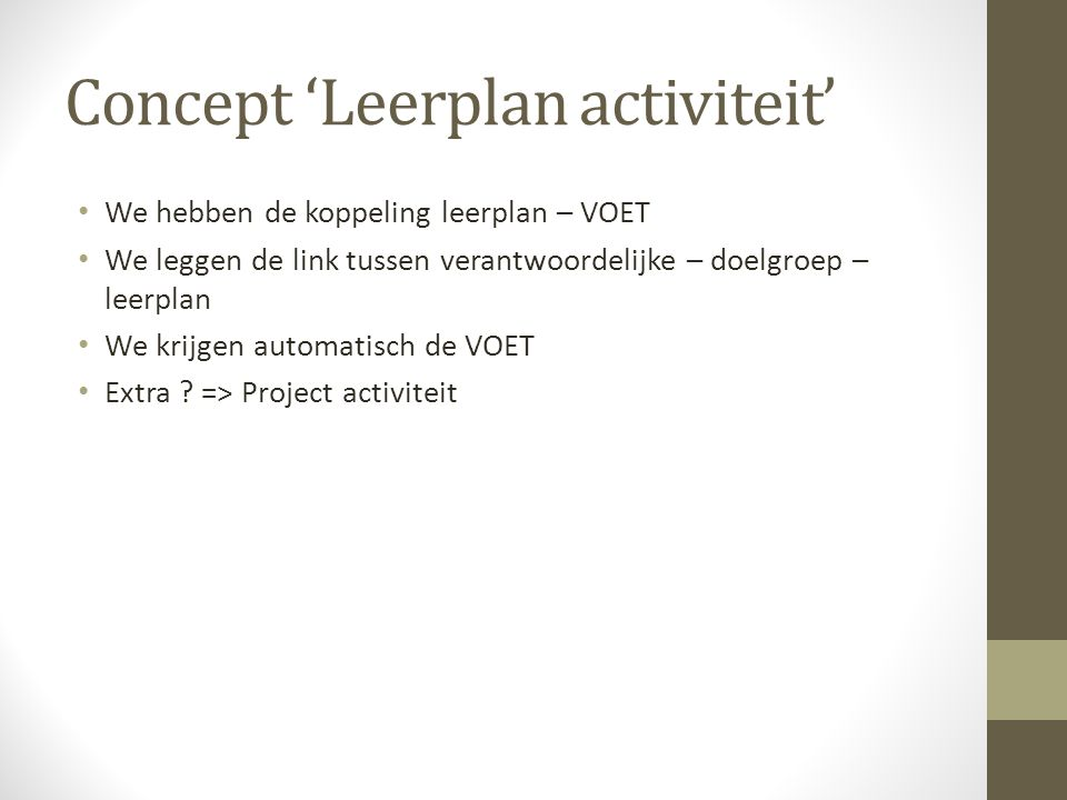 Concept 'Leerplan activiteit'