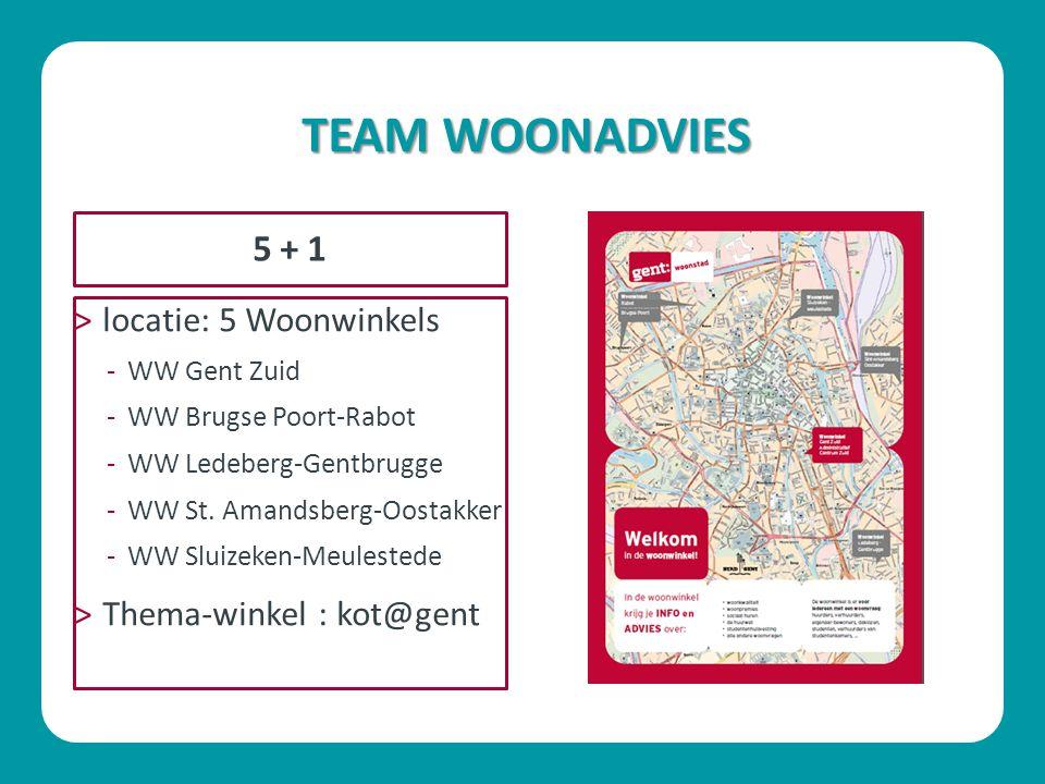 TEAM WOONADVIES 5 + 1 locatie: 5 Woonwinkels Thema-winkel : kot@gent