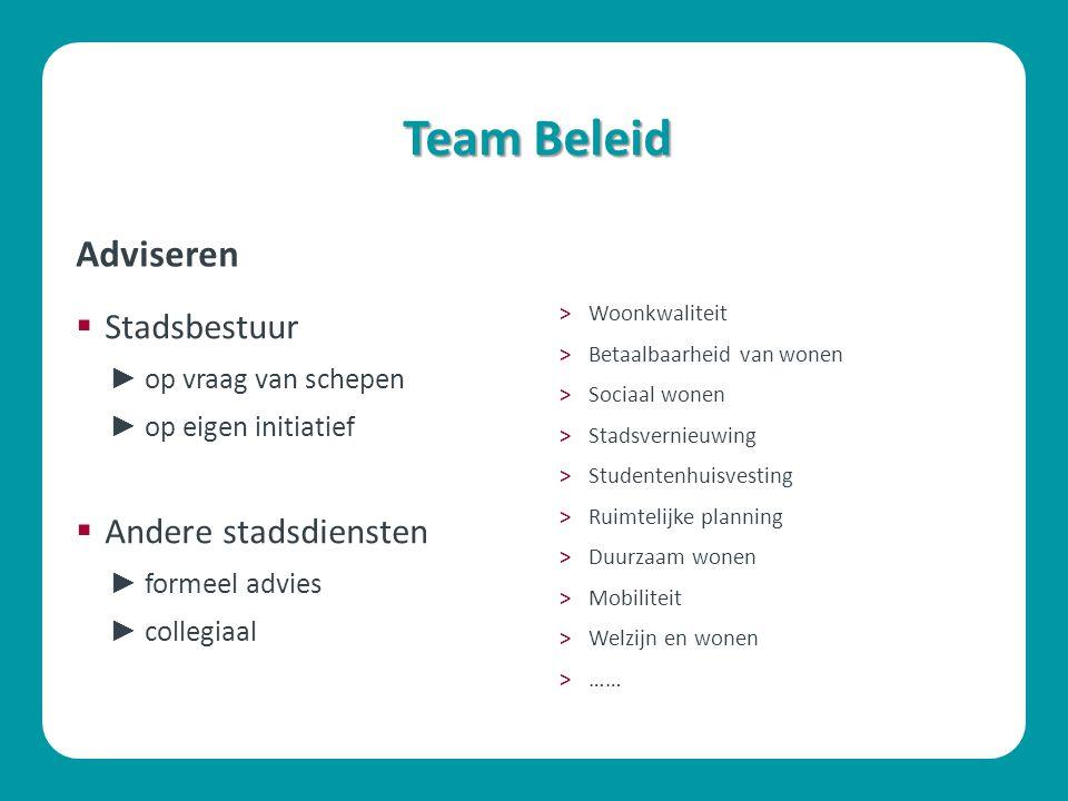 Team Beleid Adviseren Stadsbestuur Andere stadsdiensten