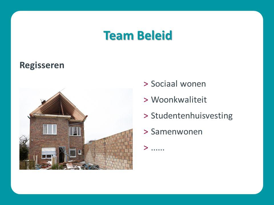 Team Beleid Regisseren Sociaal wonen Woonkwaliteit
