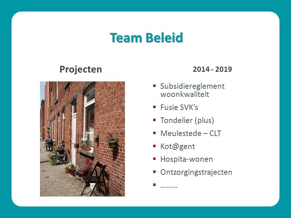Team Beleid Projecten Subsidiereglement woonkwaliteit Fusie SVK's