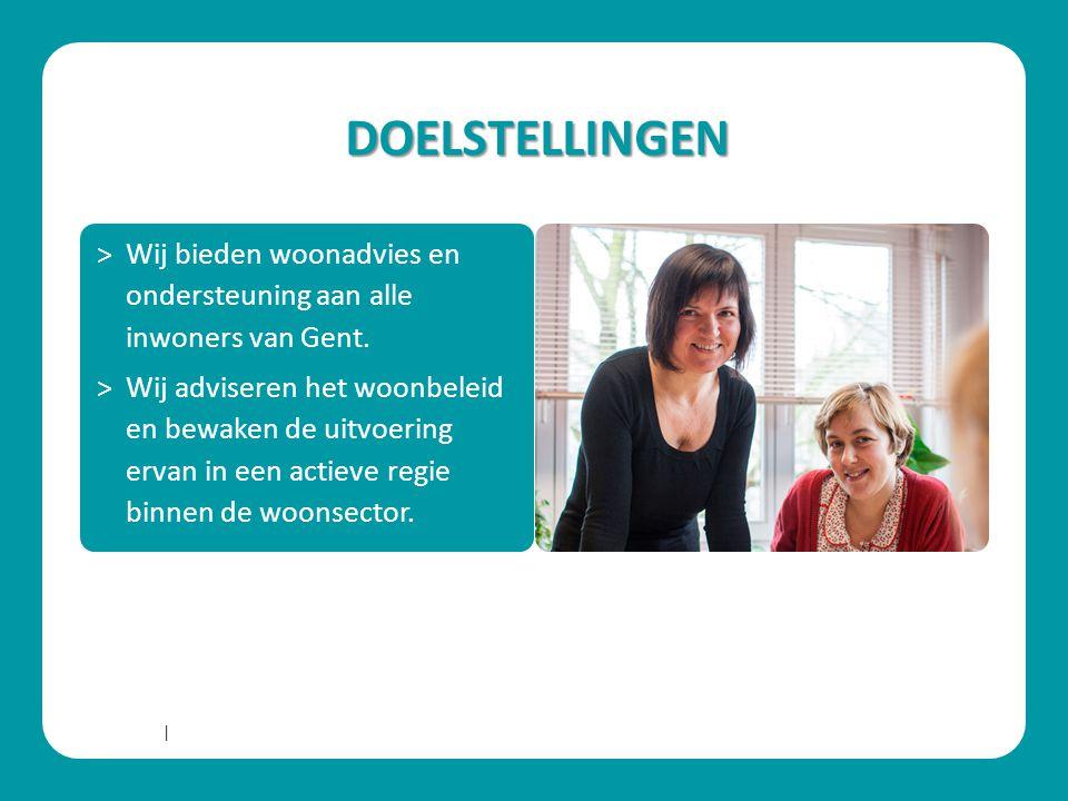 DOELSTELLINGEN Wij bieden woonadvies en ondersteuning aan alle inwoners van Gent.