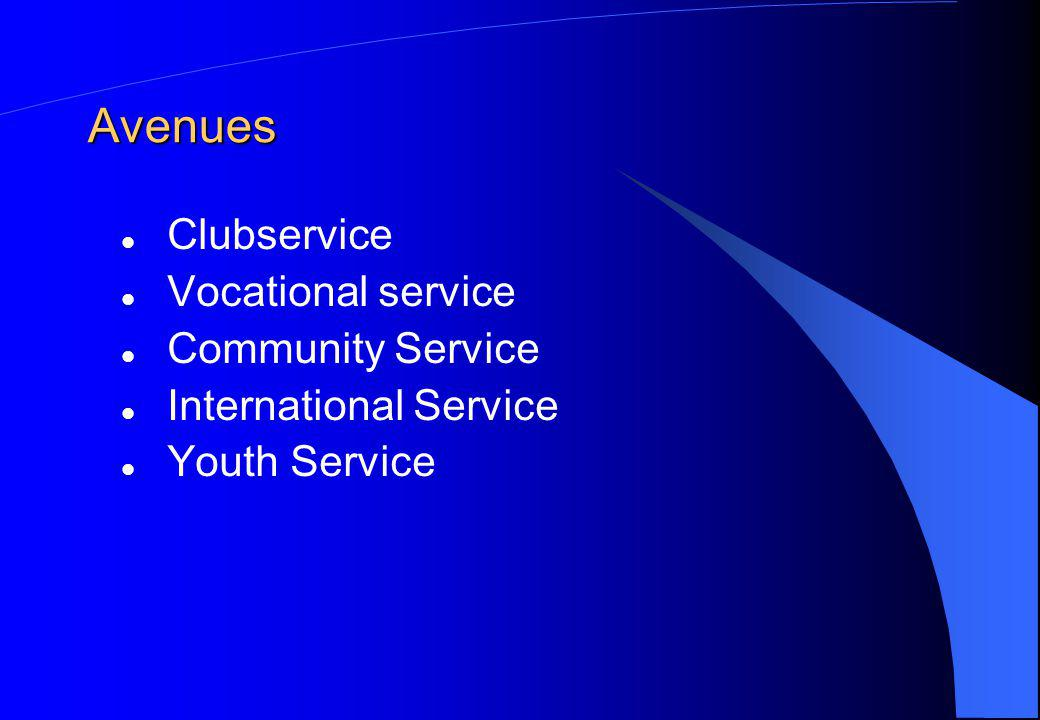 Avenues Clubservice Vocational service Community Service