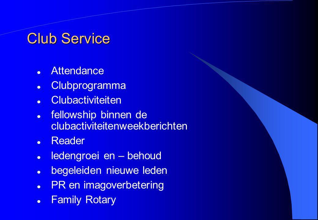 Club Service Attendance Clubprogramma Clubactiviteiten