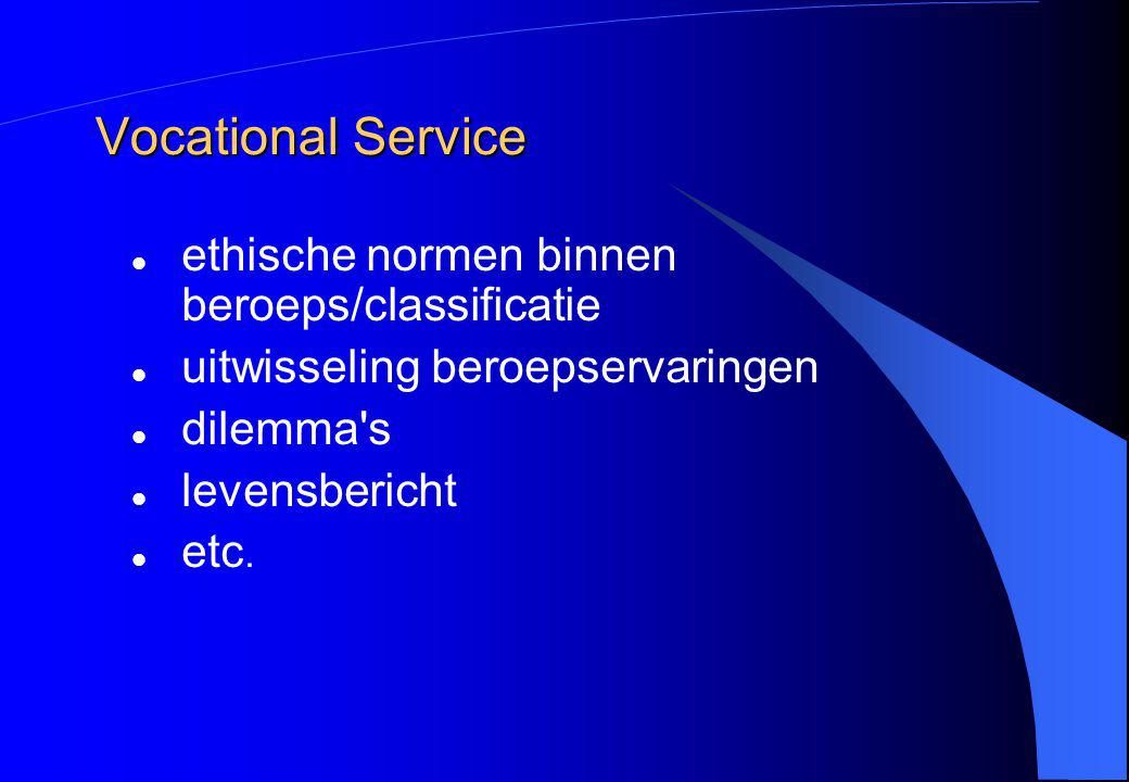 Vocational Service ethische normen binnen beroeps/classificatie