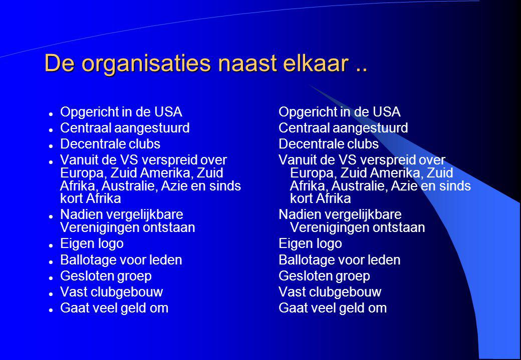 De organisaties naast elkaar ..