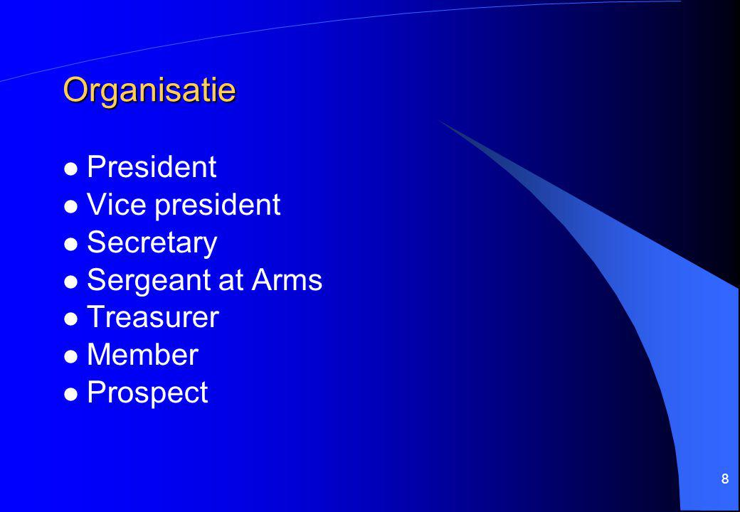 Organisatie President Vice president Secretary Sergeant at Arms