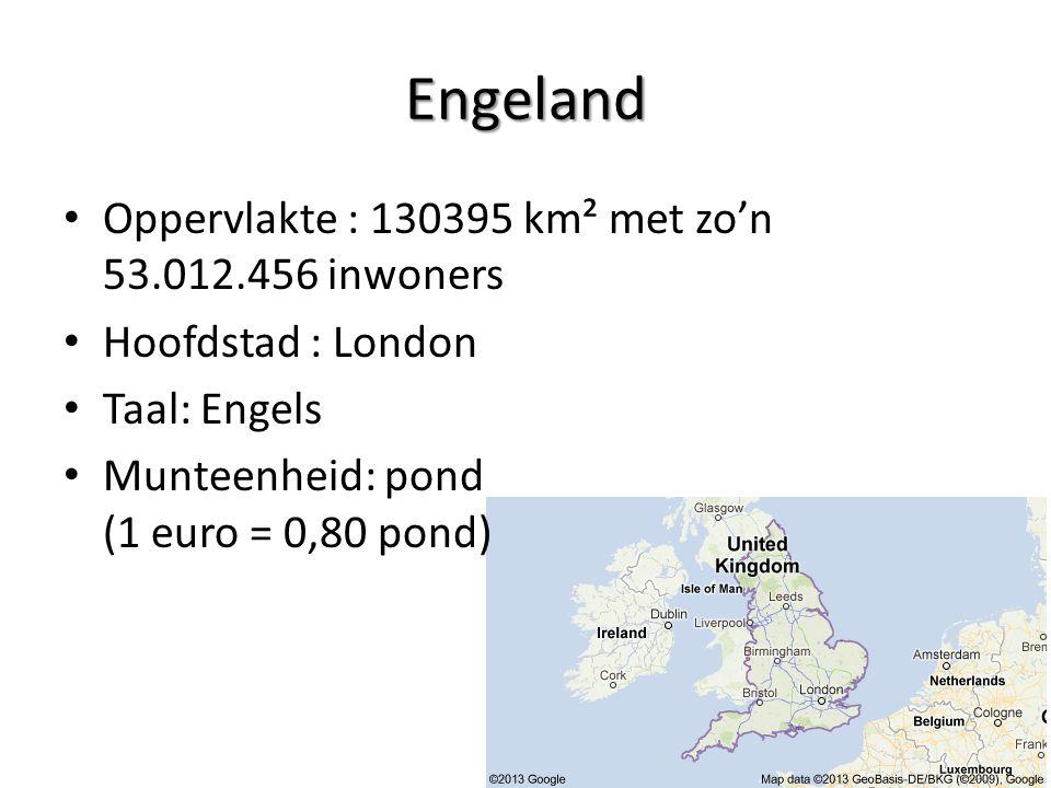 Engeland Oppervlakte : 130395 km² met zo'n 53.012.456 inwoners