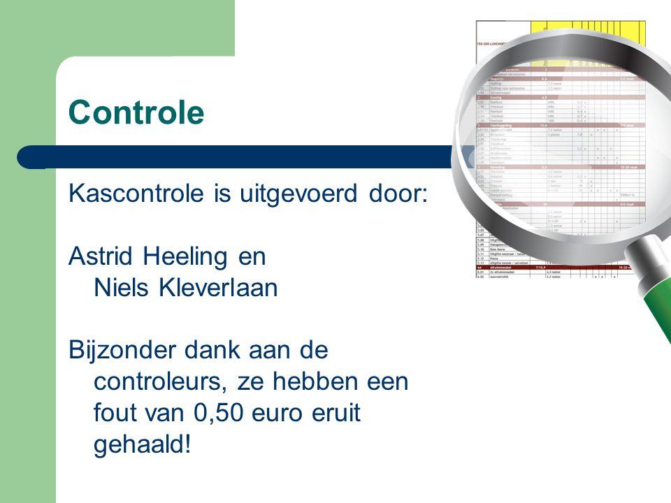 Controle Kascontrole is uitgevoerd door: Astrid Heeling en