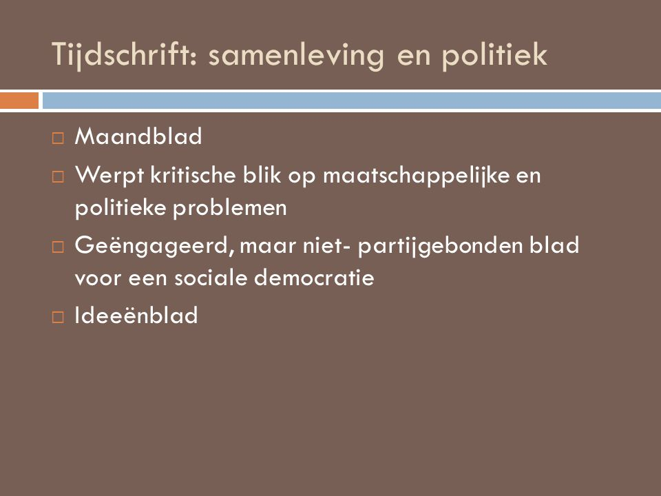 Tijdschrift: samenleving en politiek