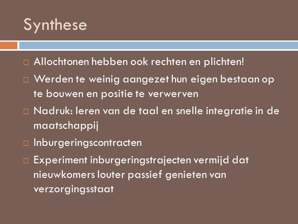 Synthese Allochtonen hebben ook rechten en plichten!