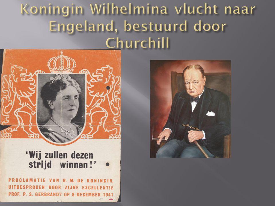 Koningin Wilhelmina vlucht naar Engeland, bestuurd door Churchill