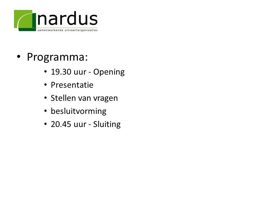 Programma: 19.30 uur - Opening Presentatie Stellen van vragen