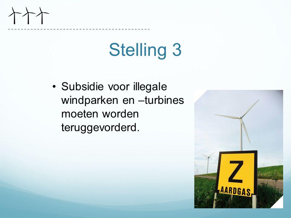 Stelling 3 Subsidie voor illegale windparken en –turbines moeten worden teruggevorderd.
