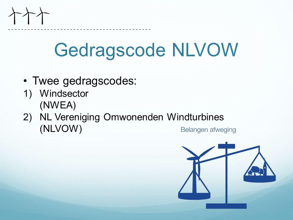 Gedragscode NLVOW Twee gedragscodes: Windsector (NWEA)