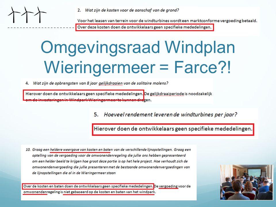 Omgevingsraad Windplan Wieringermeer = Farce !