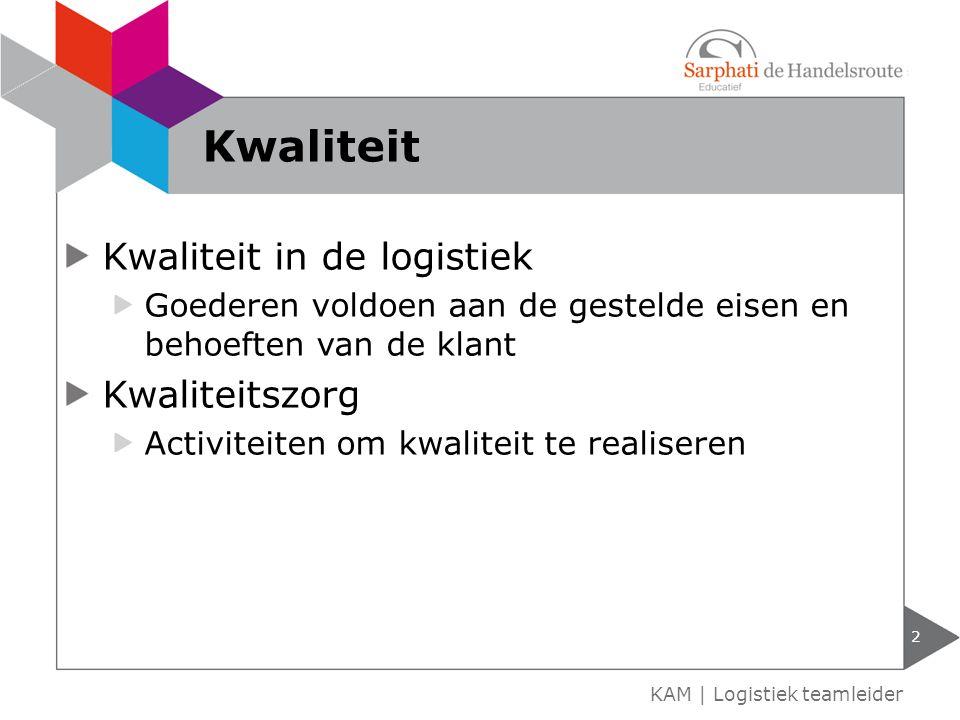 Kwaliteit Kwaliteit in de logistiek Kwaliteitszorg