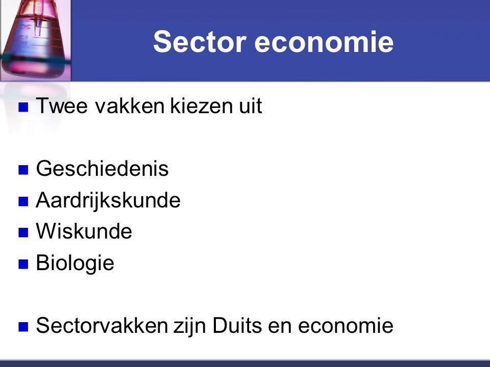 Sector economie Twee vakken kiezen uit Geschiedenis Aardrijkskunde