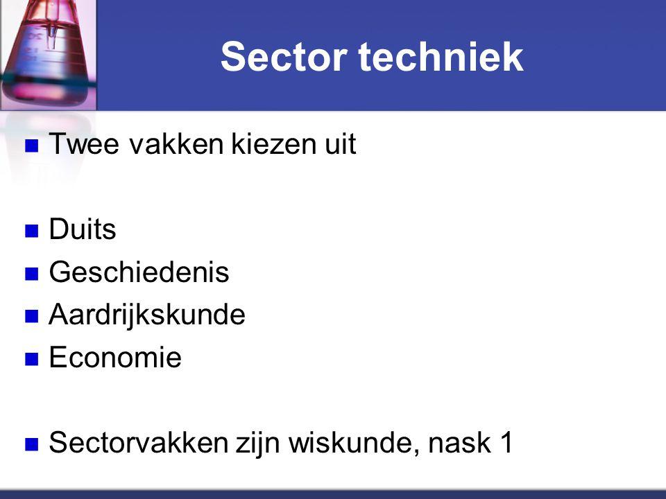 Sector techniek Twee vakken kiezen uit Duits Geschiedenis