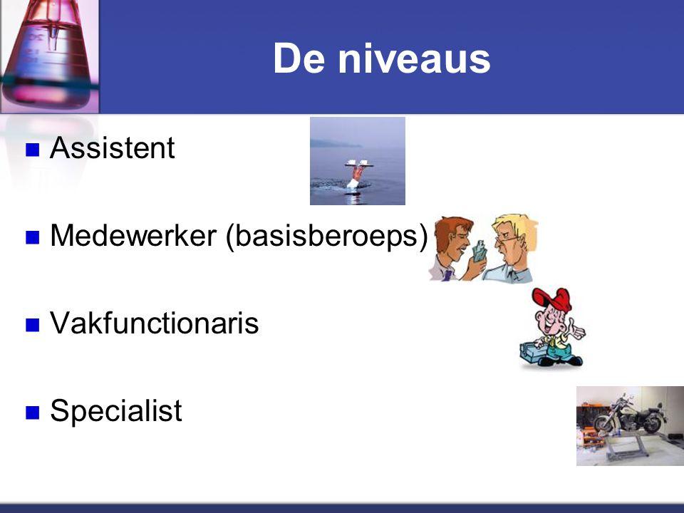 De niveaus Assistent Medewerker (basisberoeps) Vakfunctionaris