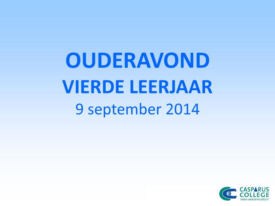 OUDERAVOND VIERDE LEERJAAR 9 september 2014