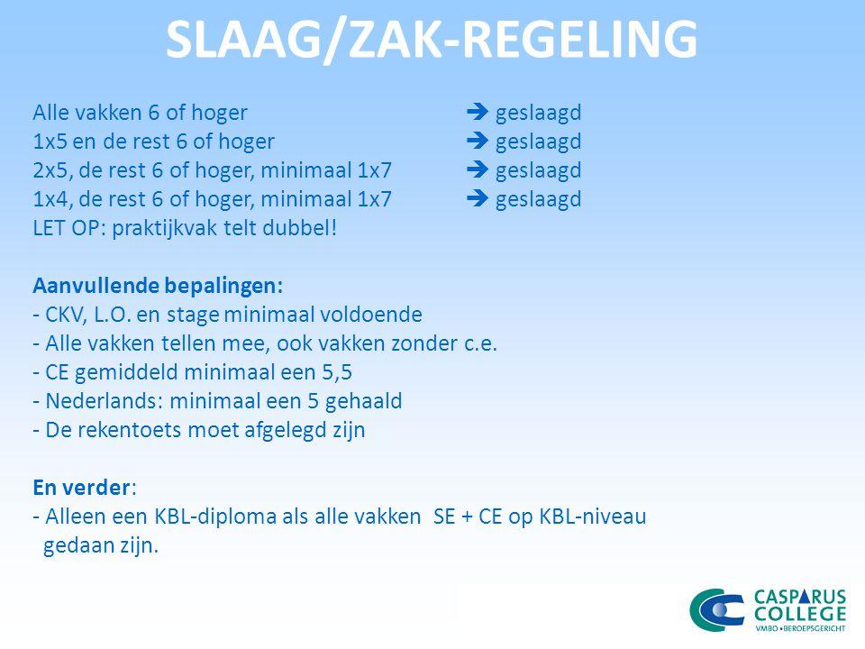SLAAG/ZAK-REGELING Alle vakken 6 of hoger  geslaagd