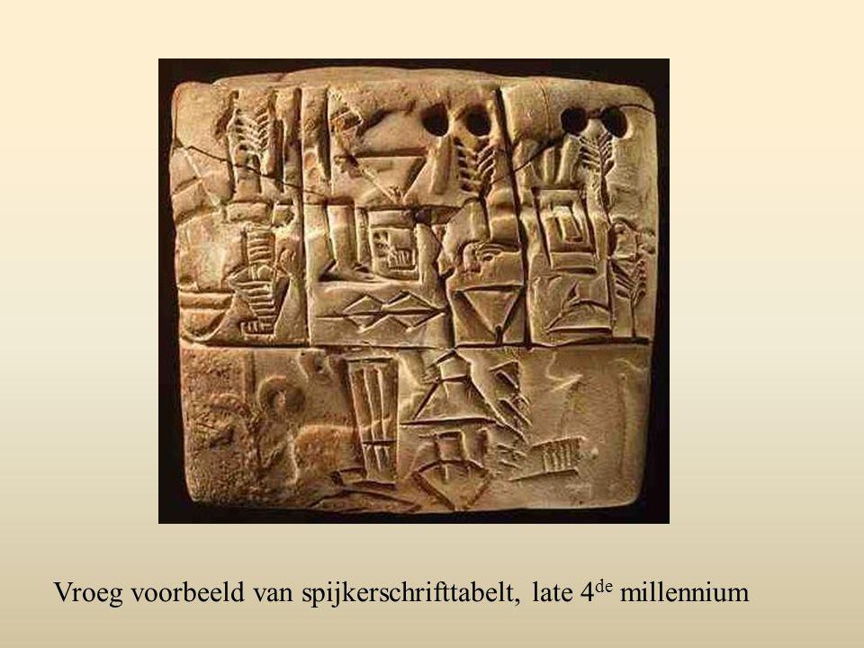 Vroeg voorbeeld van spijkerschrifttabelt, late 4de millennium