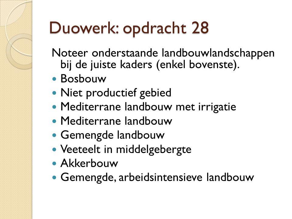 Duowerk: opdracht 28 Noteer onderstaande landbouwlandschappen bij de juiste kaders (enkel bovenste).