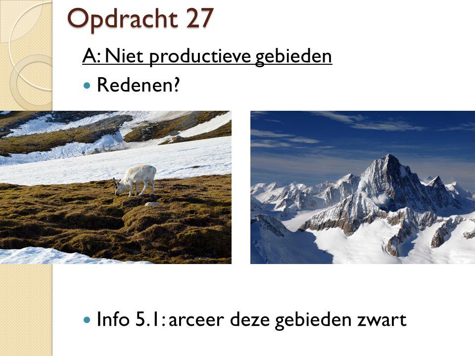 Opdracht 27 A: Niet productieve gebieden Redenen