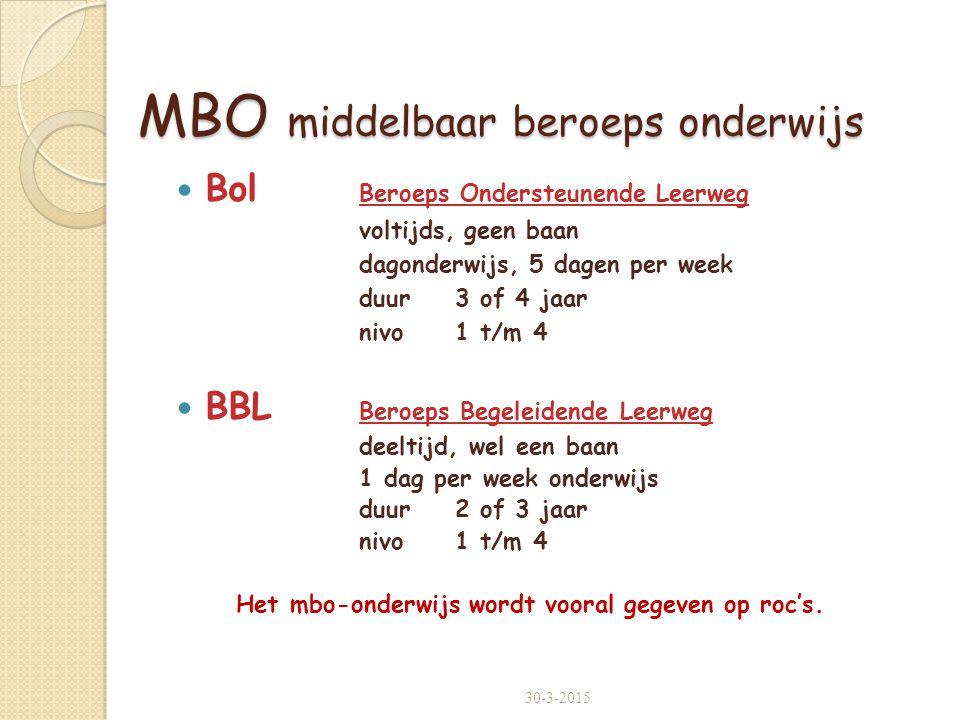 MBO middelbaar beroeps onderwijs
