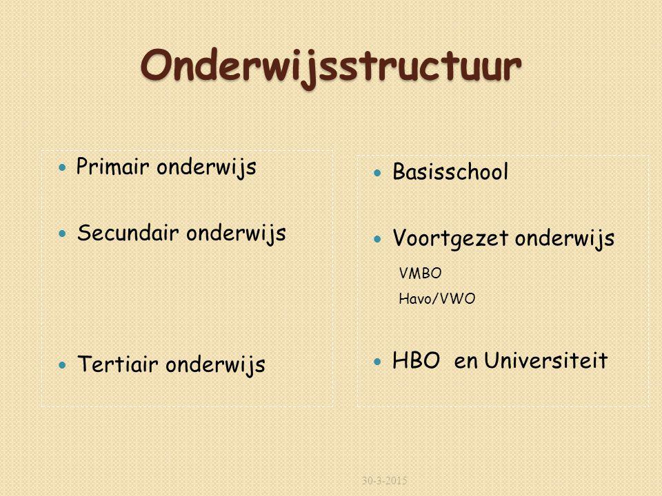 Onderwijsstructuur Primair onderwijs Basisschool Secundair onderwijs