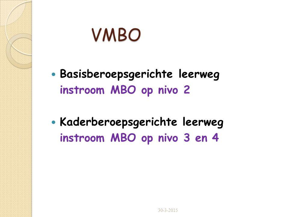 VMBO Basisberoepsgerichte leerweg instroom MBO op nivo 2