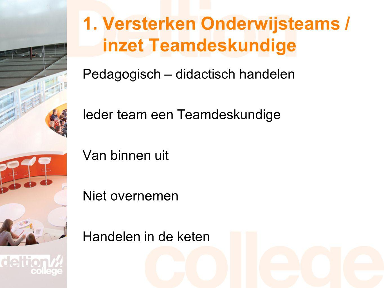 1. Versterken Onderwijsteams / inzet Teamdeskundige