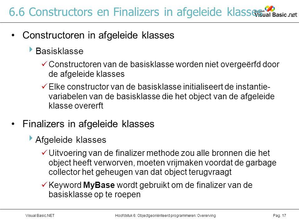 6.6 Constructors en Finalizers in afgeleide klasses