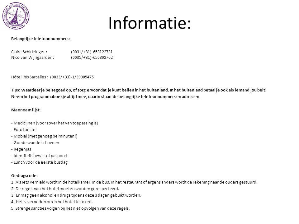 Informatie: Belangrijke telefoonnummers :