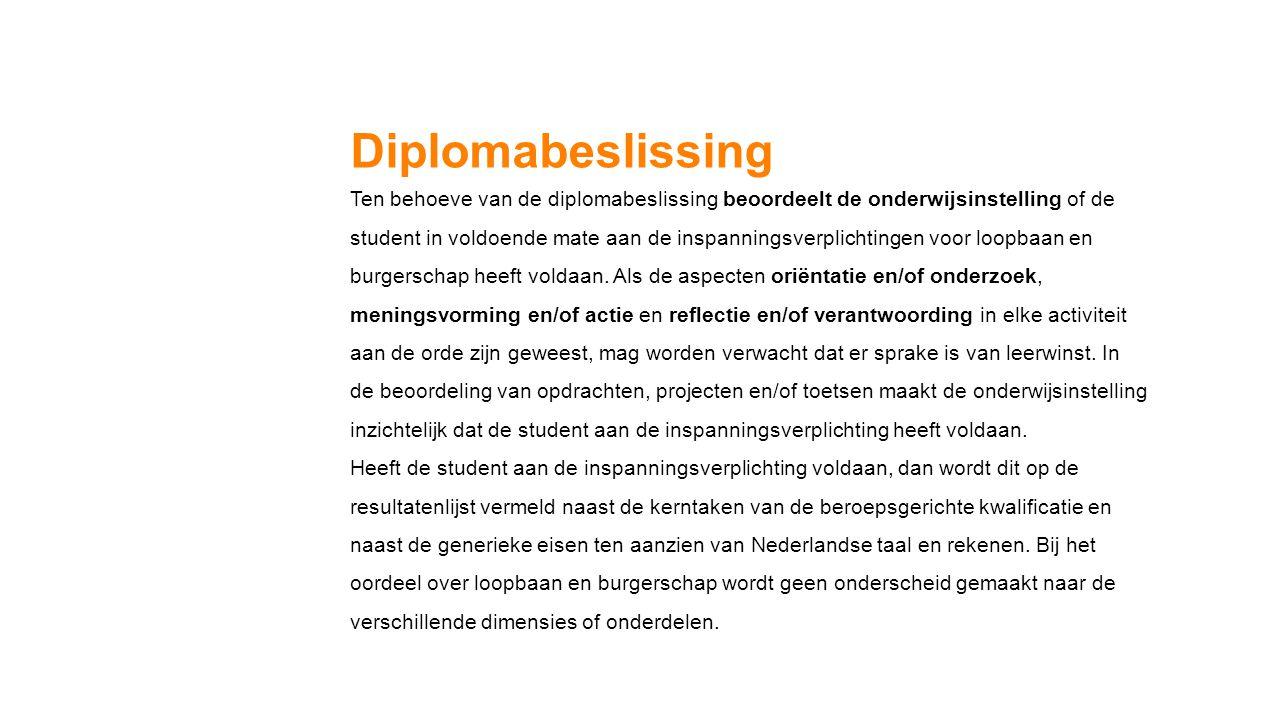 Diplomabeslissing Ten behoeve van de diplomabeslissing beoordeelt de onderwijsinstelling of de.