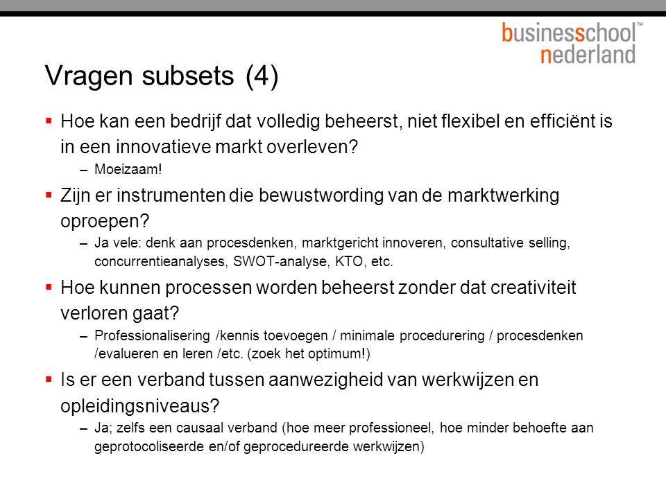 Vragen subsets (4) Hoe kan een bedrijf dat volledig beheerst, niet flexibel en efficiënt is in een innovatieve markt overleven